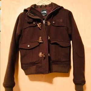 Brown wool North Face hooded bomber jacket